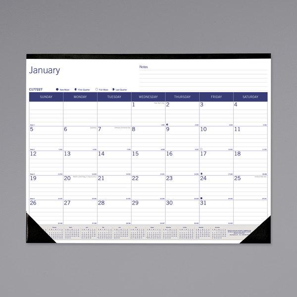 "Blueline C177227 DuraGlobe 22"" x 17"" Monthly January 2022 - December 2022 Desk Pad Calendar Main Image 1"
