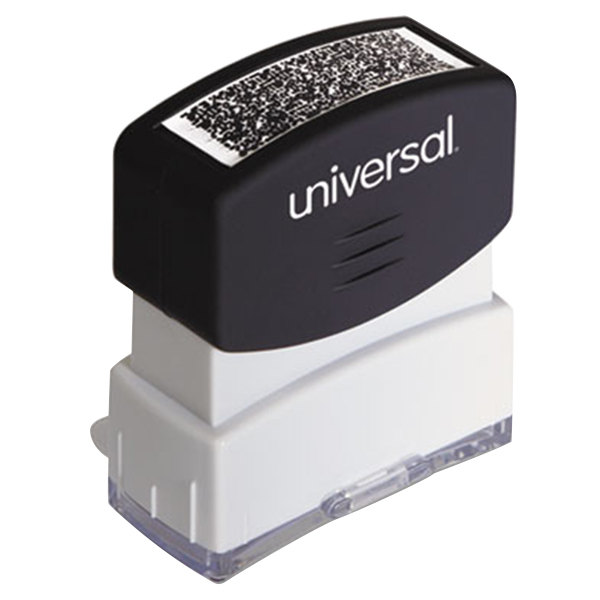"Universal UNV10136 1 11/16"" x 9/16"" Black Pre-Inked Security Block Stamp"