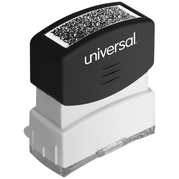 "Universal UNV10136 1 11/16"" x 9/16"" Black Pre-Inked Security Block Stamp Main Image 1"