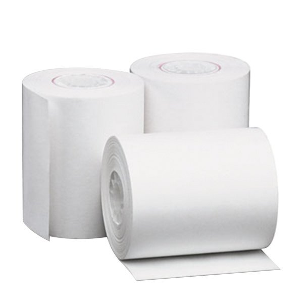 """Universal Office UNV35760 2 1/4"""" x 80' White 1-Ply Adding Machine and Calculator 12# Thermal Paper Roll - 50/Case"""
