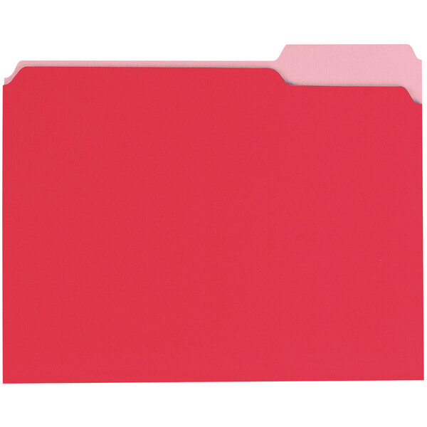 Universal UNV10503 Letter Size File Folder - Standard Height with 1/3 Cut Assorted Tab, Red - 100/Box Main Image 1