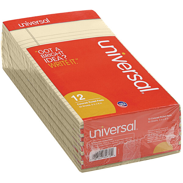 """Universal UNV35852 5"""" x 8"""" Narrow Rule Ivory Perforated Note Pad - 12/Pack Main Image 1"""