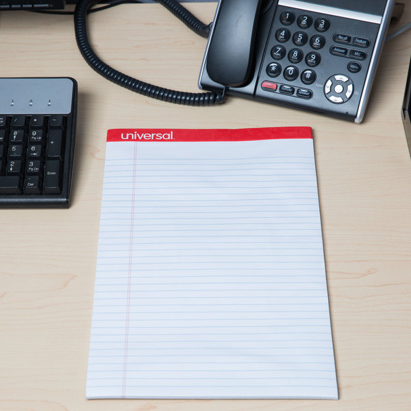 Universal UNV45000 Legal Rule White Perforated Edge Writing Pad, Legal - 12/Pack Main Image 6