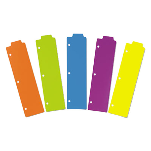 """Avery 24908 3"""" x 11 1/2"""" Assorted Color Plastic Tabbed Snap-In Bookmark Divider - 5/Pack Main Image 1"""