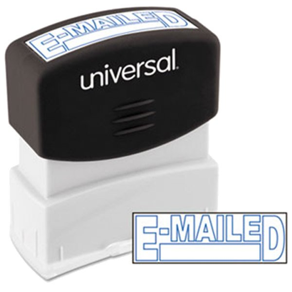 """Universal UNV10058 1 11/16"""" x 9/16"""" Blue Pre-Inked E-mailed Message Stamp Main Image 1"""