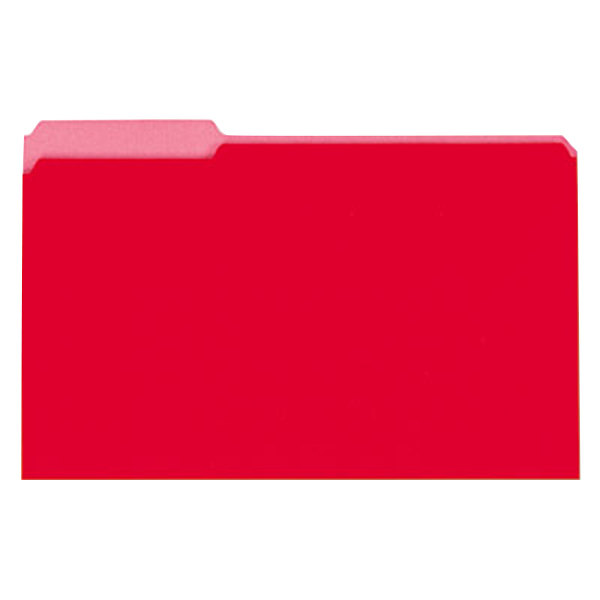 Universal UNV15303 Legal Size File Folder - Interior Height with 1/3 Cut Assorted Tab, Red - 100/Box Main Image 1