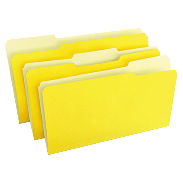 Universal UNV10524 Legal Size File Folder - Standard Height with 1/3 Cut Assorted Tab, Yellow - 100/Box Main Image 1