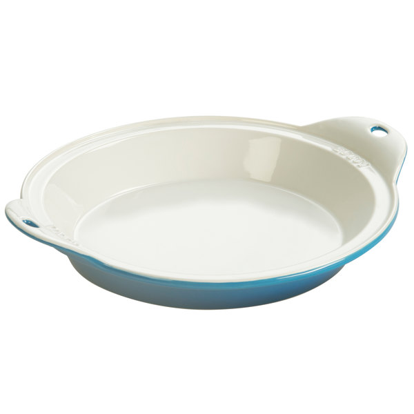 "Lodge STW9R33 9 1/2"" Round Blue Stoneware Baking Dish"