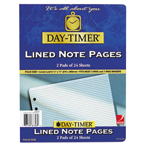 """Day-Timer 87328 8 1/2"""" x 11"""" Pack of Narrow Rule Lined Refill Sheet - 48 Sheets"""
