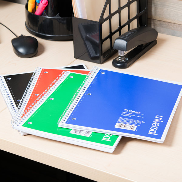 """Universal UNV66624 10 1/2"""" x 8"""" Assorted Colors 1 Subject Wide Ruled Wirebound Notebook, 70 Sheets - 4/Pack"""