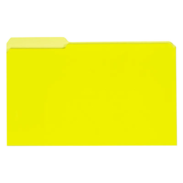 Universal UNV15304 Legal Size File Folder - Interior Height with 1/3 Cut Assorted Tab, Yellow - 100/Box Main Image 1