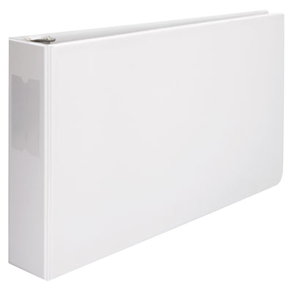"""Universal UNV35424 11"""" x 17"""" White Non-Stick Non-View Binder with 3"""" Round Rings and Spine Label Holder, Ledger"""