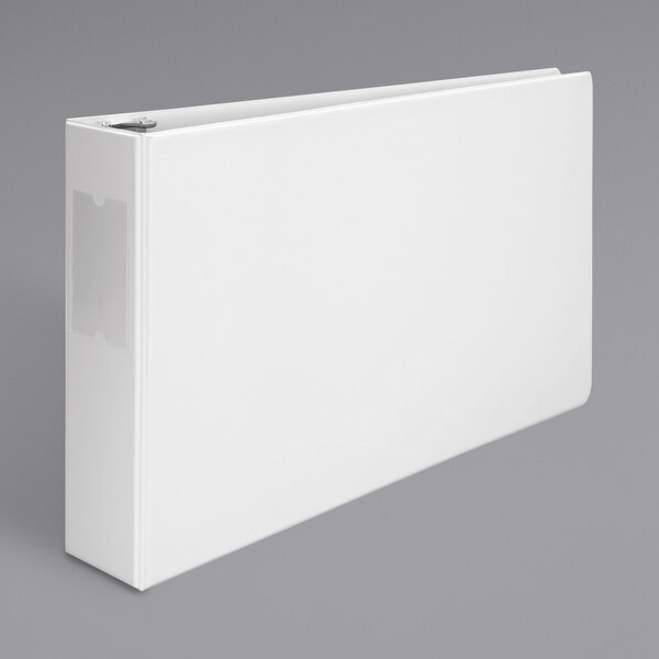 """Universal UNV35424 11"""" x 17"""" White Non-Stick Non-View Binder with 3"""" Round Rings and Spine Label Holder, Ledger Main Image 1"""