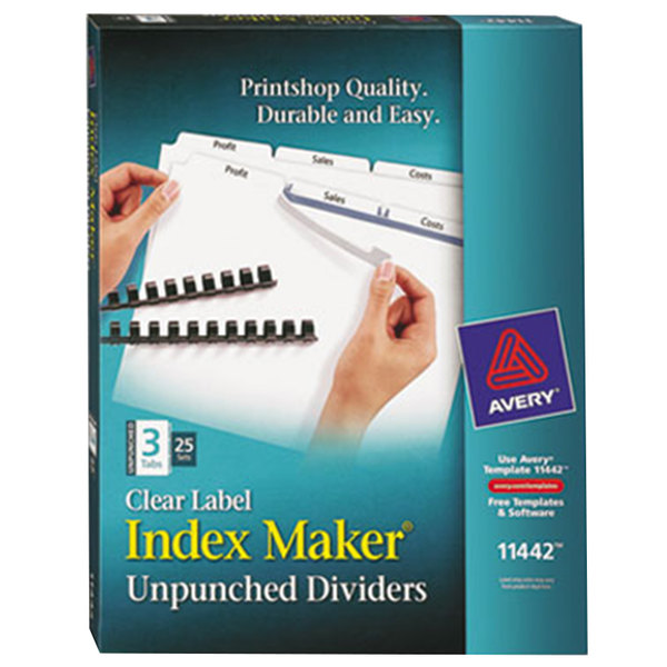 Avery 11442 Index Maker 3-Tab Unpunched Divider Set with Clear Label Strips - 25/Box Main Image 1