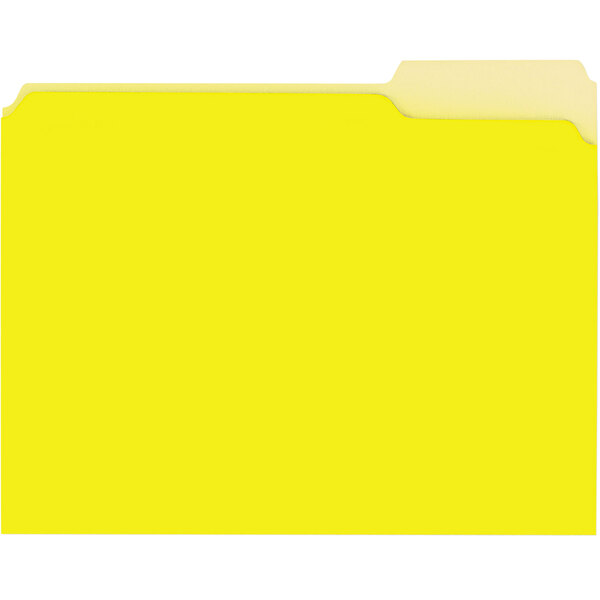 Universal UNV12304 Letter Size File Folder - Interior Height with 1/3 Cut Assorted Tab, Yellow - 100/Box Main Image 1