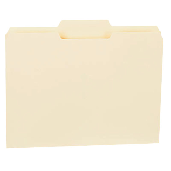 Universal UNV12122 Letter Size File Folder - Standard Height with 1/3 Cut Center Tab, Manila - 100/Box