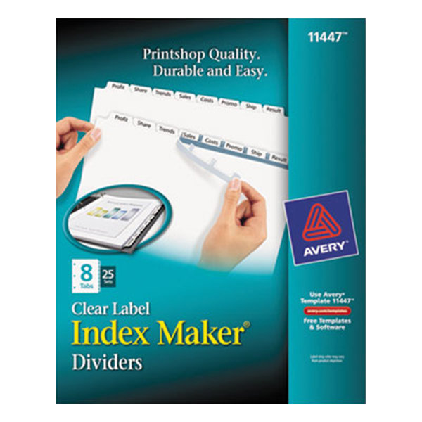 Avery 11447 Index Maker 8-Tab Extra-Wide Dividers with Clear Label Strips - 25/Box Main Image 1