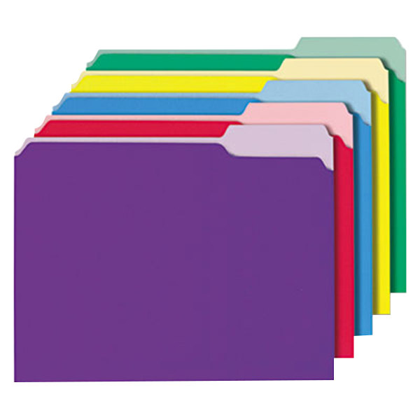 Universal UNV12306 Letter Size File Folder - Interior Height with 1/3 Cut Assorted Tab, Assorted Color - 100/Box