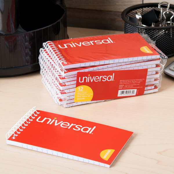 "Universal UNV20435 5"" x 3"" Orange Top Wirebound Narrow Ruled Memo Book - 12/Pack Main Image 8"