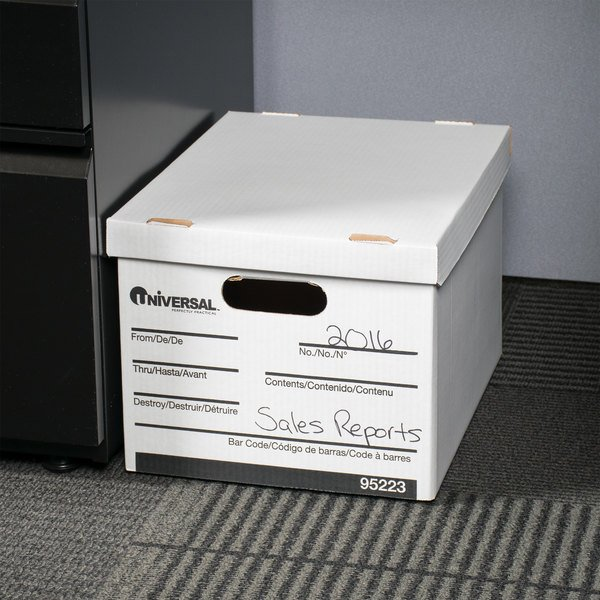 "Universal UNV95223 15"" x 12"" x 10"" White Letter/Legal Sized Corrugated Fiberboard Storage Box with Lift-Off Lid - 12/Case Main Image 6"