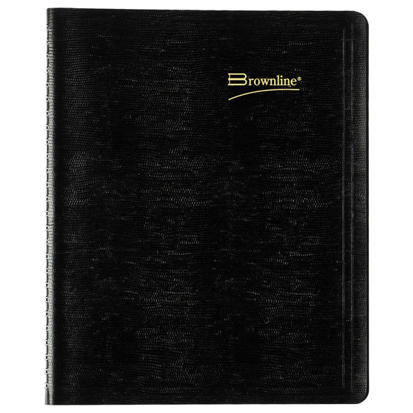 "Brownline CB1200BLK 7 1/8"" x 8 7/8"" Black December 2020 - January 2022 Essential Collection 14-Month Planner Main Image 1"