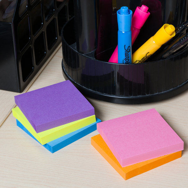 """Universal UNV35610 3"""" x 3"""" Assorted Bright Color Self-Stick Note - 12/Pack"""