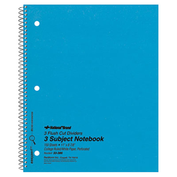 "National 33386 8 7/8"" x 11"" Blue College Rule 3 Subject Wirebound Notebook - 150 Sheets Main Image 1"