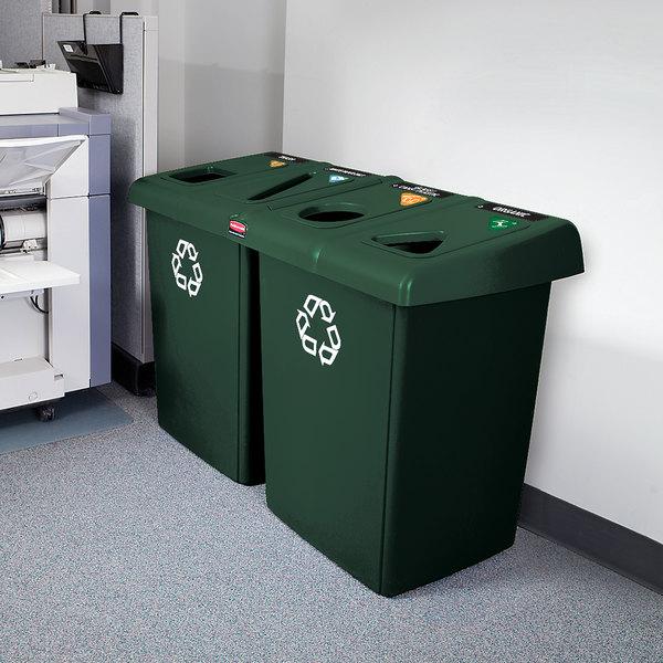 Rubbermaid 1792373 Glutton Dark Green Recycling Station - 92 Gallon