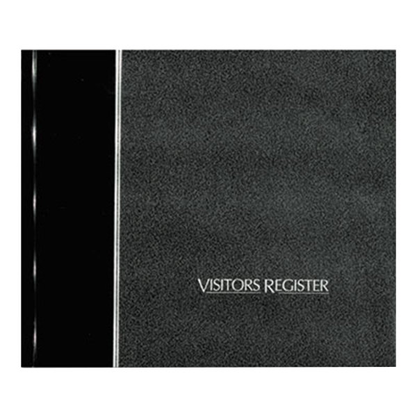 """Rediform 57802 8 1/2"""" x 9 7/8"""" Black Hardcover Visitor Register Book with 128 Pages"""