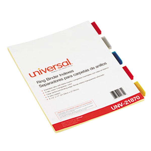 Universal UNV21870 Multi-Color 5-Tab Insertable Index Divider Set - 6/Pack