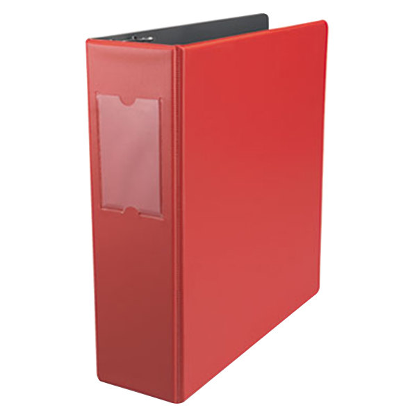 "Universal UNV35413 Red Economy Non-Stick Non-View Binder with 3"" Round Rings and Spine Label Holder Main Image 1"