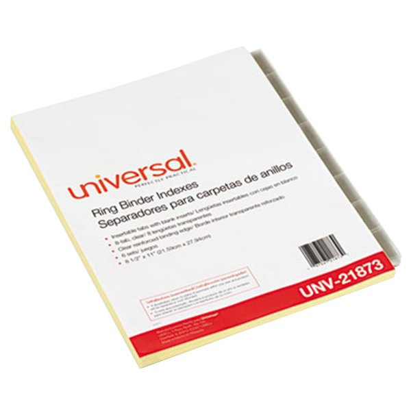 Universal UNV21873 Clear 8-Tab Insertable Index Divider Set - 6/Pack Main Image 1