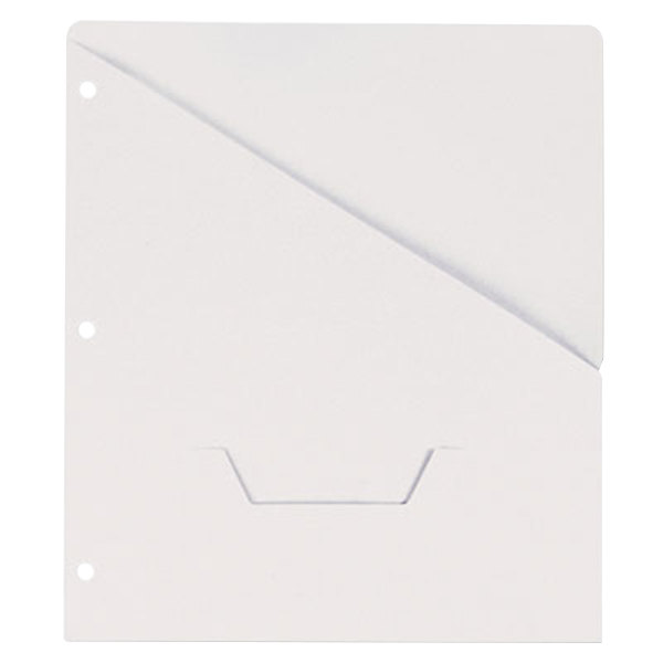 "Universal UNV61687 11"" x 8 1/2"" White Three Ring Binder Jacket with Slash-Cut Pocket, Letter - 10/Pack"
