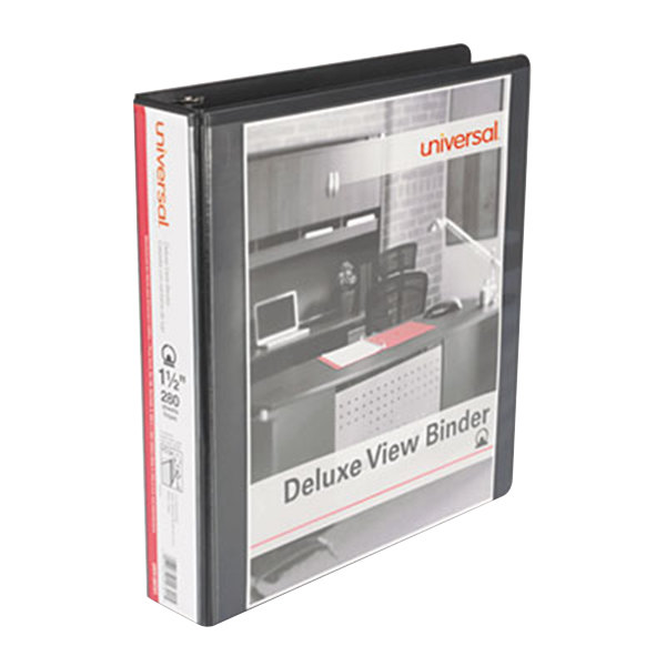 """Universal UNV20721 Black Deluxe Non-Stick View Binder with 1 1/2"""" Round Rings Main Image 1"""