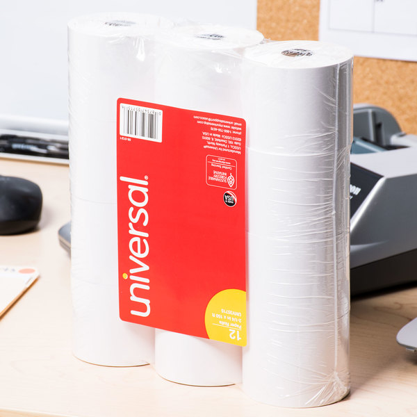 """Universal Office UNV35715 2 1/4"""" x 150' White 1-Ply Adding Machine and Calculator 16# Paper Roll - 12/Pack"""