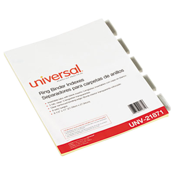 Universal UNV21871 Clear 5-Tab Insertable Index Divider Set - 6/Pack
