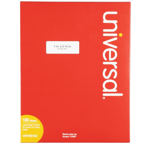 Universal UNV80102 1 inch x 2 5/8 inch White Permanent Labels - 3000/Box