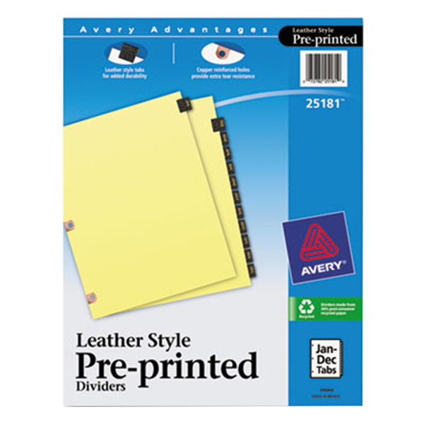 Avery 25181 Black Leather 12-Tab Jan-Dec Dividers with Copper Reinforced Edge Main Image 1