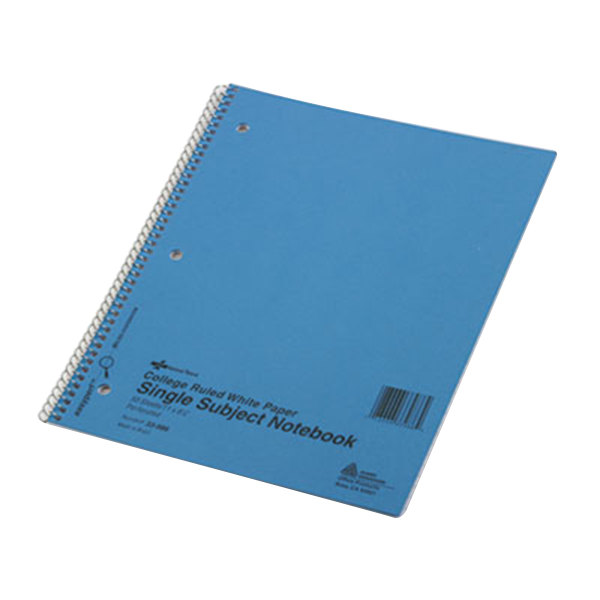 """National 33986 8 7/8"""" x 11"""" Blue College Rule 1 Subject Wirebound Notebook - 50 Sheets"""