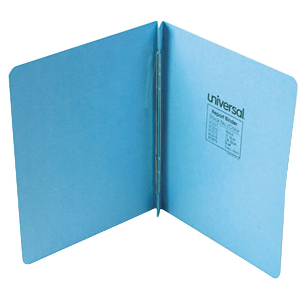 "Universal Office UNV80572 11"" x 8 1/2"" Light Blue Pressboard Report Cover with Prong Fastener, Letter"