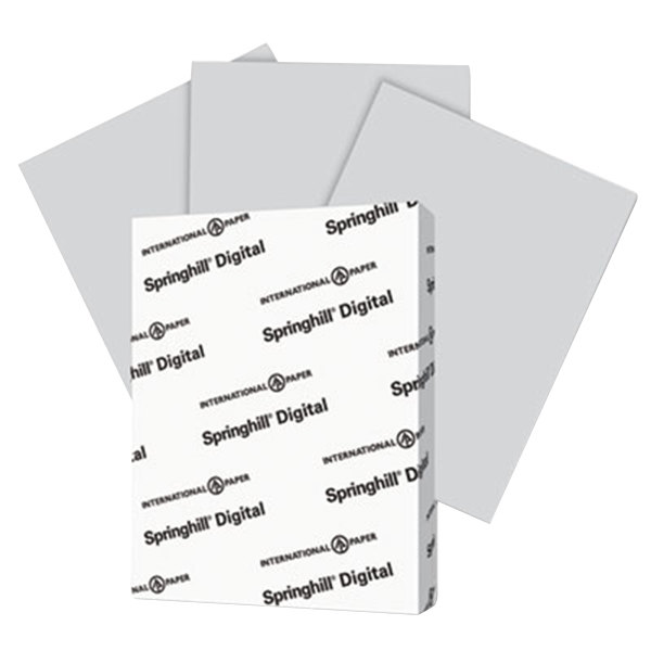 "International Paper 065300 Springhill Digital 8 1/2"" x 11"" Gray Pack of #110 Smooth Index Paper Cardstock- 250 Sheets Main Image 1"