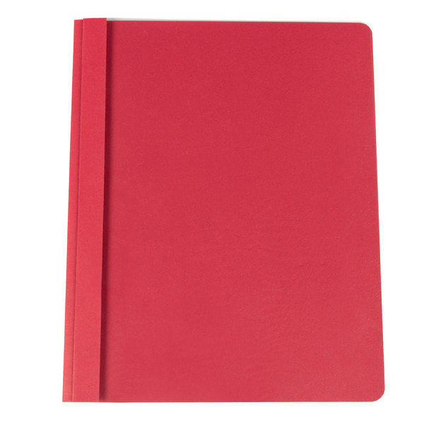 """Universal Office UNV57123 11"""" x 8 1/2"""" Red Leatherette Embossed Paper Report Cover with Clear Cover and Prong Fasteners, Letter - 25/Box Main Image 1"""