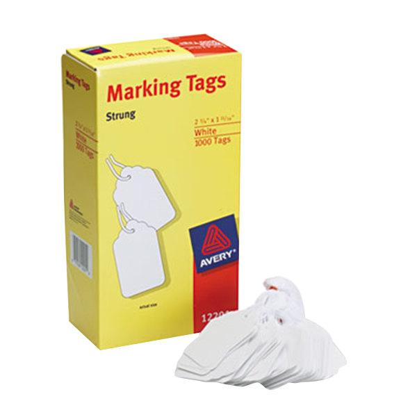 "Avery 12201 2 3/4"" x 1 11/16"" White Medium Weight Paper Marking Tag - 1000/Box Main Image 1"