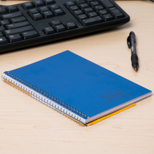 "National 33502 7 3/4"" x 5"" Blue College Rule 1 Subject Wirebound Notebook - 80 Sheets Main Image 7"