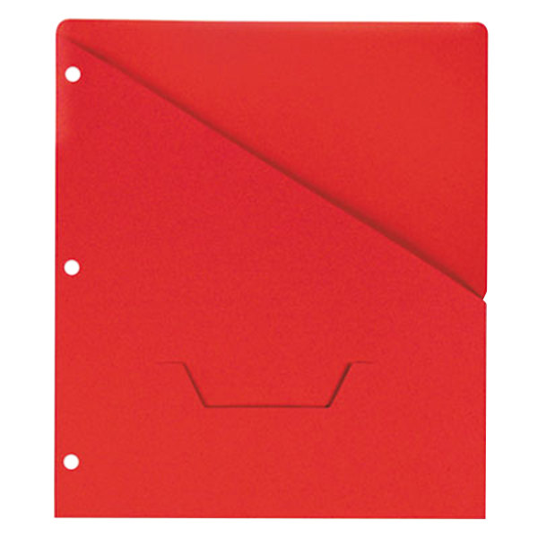 """Universal UNV61683 11"""" x 8 1/2"""" Red Three Ring Binder Jacket with Slash-Cut Pocket, Letter - 10/Pack Main Image 1"""