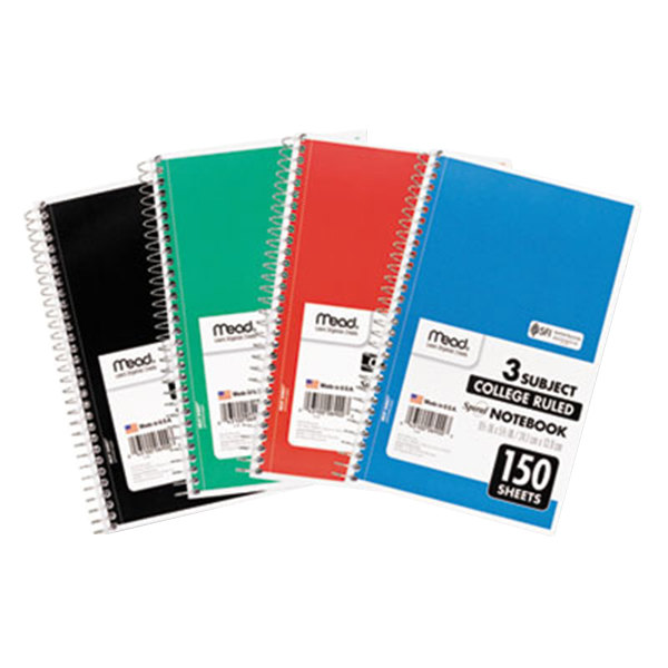 "Mead 06900 5 1/2"" x 9 1/2"" Assorted Color College Rule 3 Subject Spiral Bound Notebook - 150 Sheets"