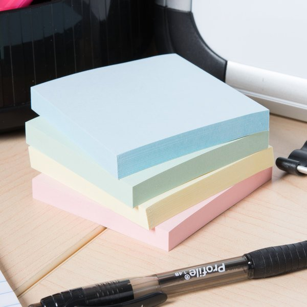"Universal UNV35669 3"" x 3"" Assorted Pastel Color Self-Stick Note - 12/Pack"