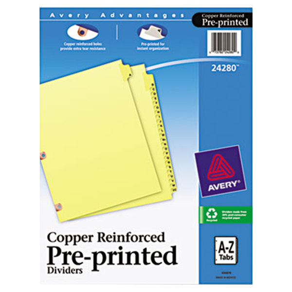 Avery 24280 Pre-Printed 25-Tab A-Z Dividers with Copper Reinforcements Main Image 1