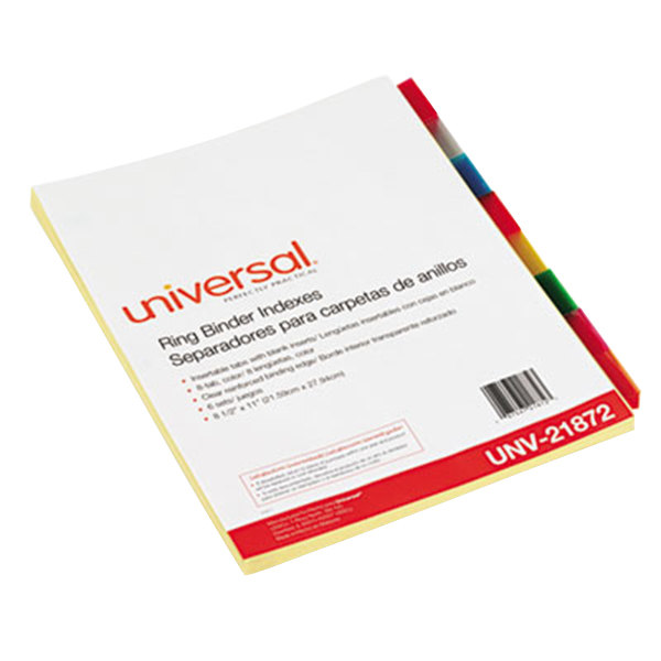 Universal UNV21872 Multi-Color 8-Tab Insertable Index Divider Set - 6/Pack Main Image 1