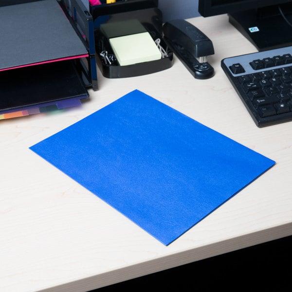 Universal UNV56601 Letter Size 2-Pocket Embossed Paper Pocket Folder, Light Blue - 25/Box Main Image 7